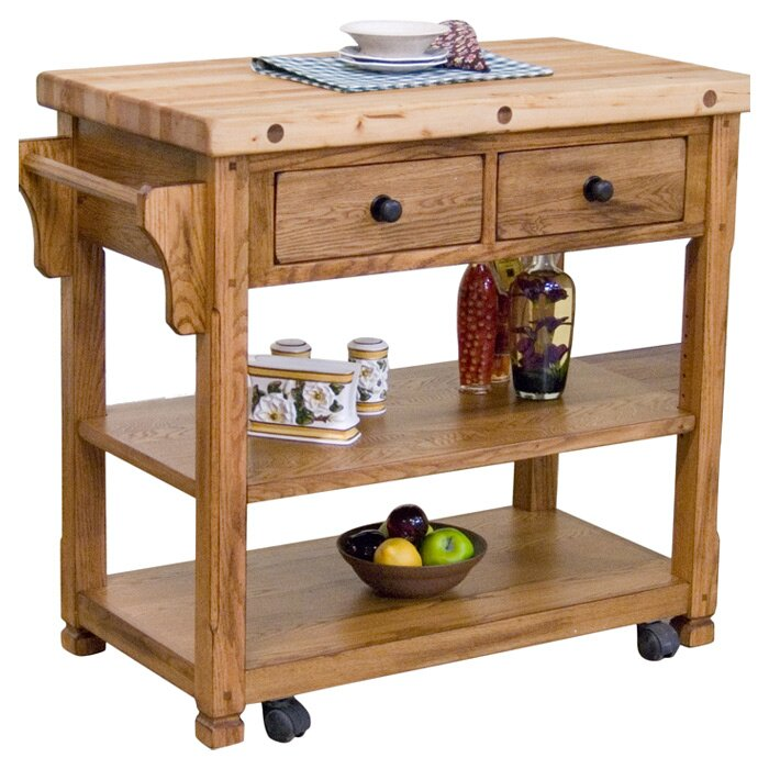 Sunny Designs Sedona Kitchen Island with Butcher Block Top & Reviews Wayfair