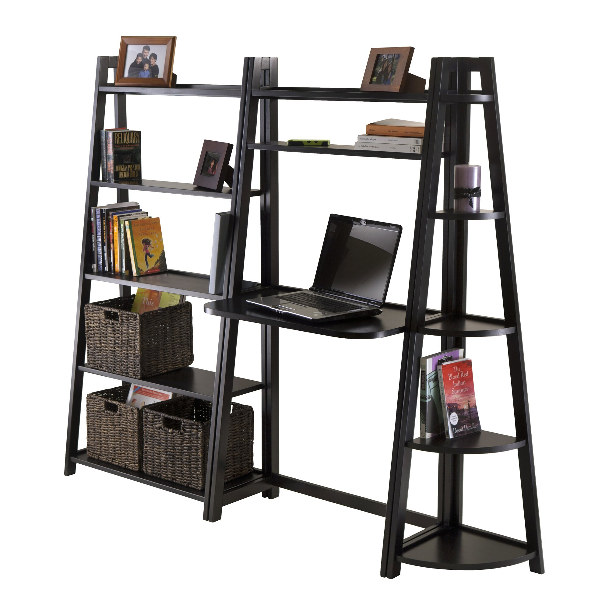 Luxury Home Adam Writing Desk with Leaning Bookcase ...