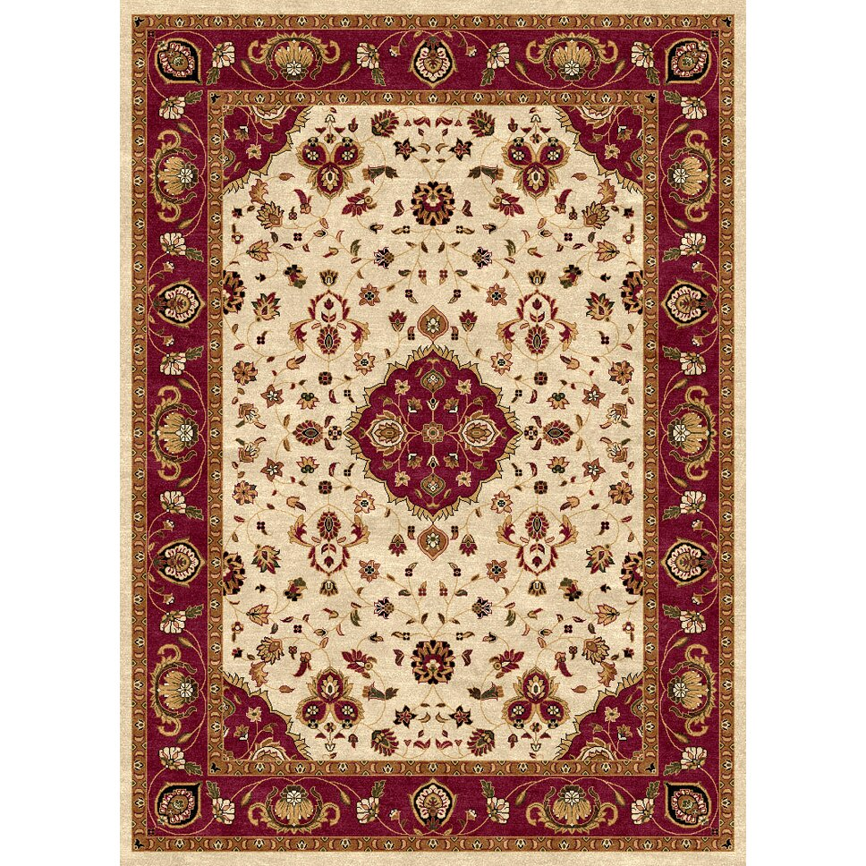 Luxury home ethnic cream red area rug wayfair for Cream and red rugs