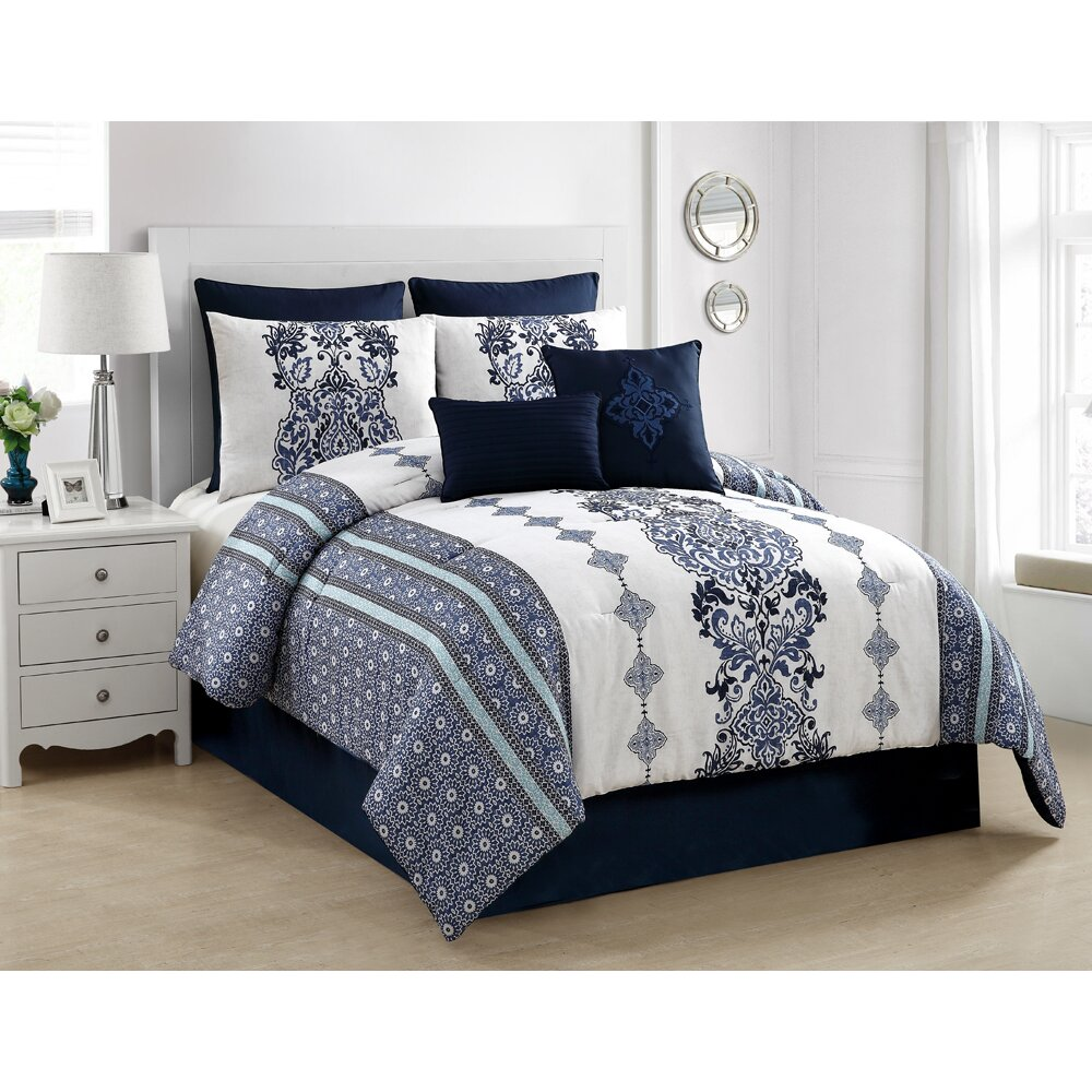 Luxury home twilight 8 piece comforter set for Bed and mattress set
