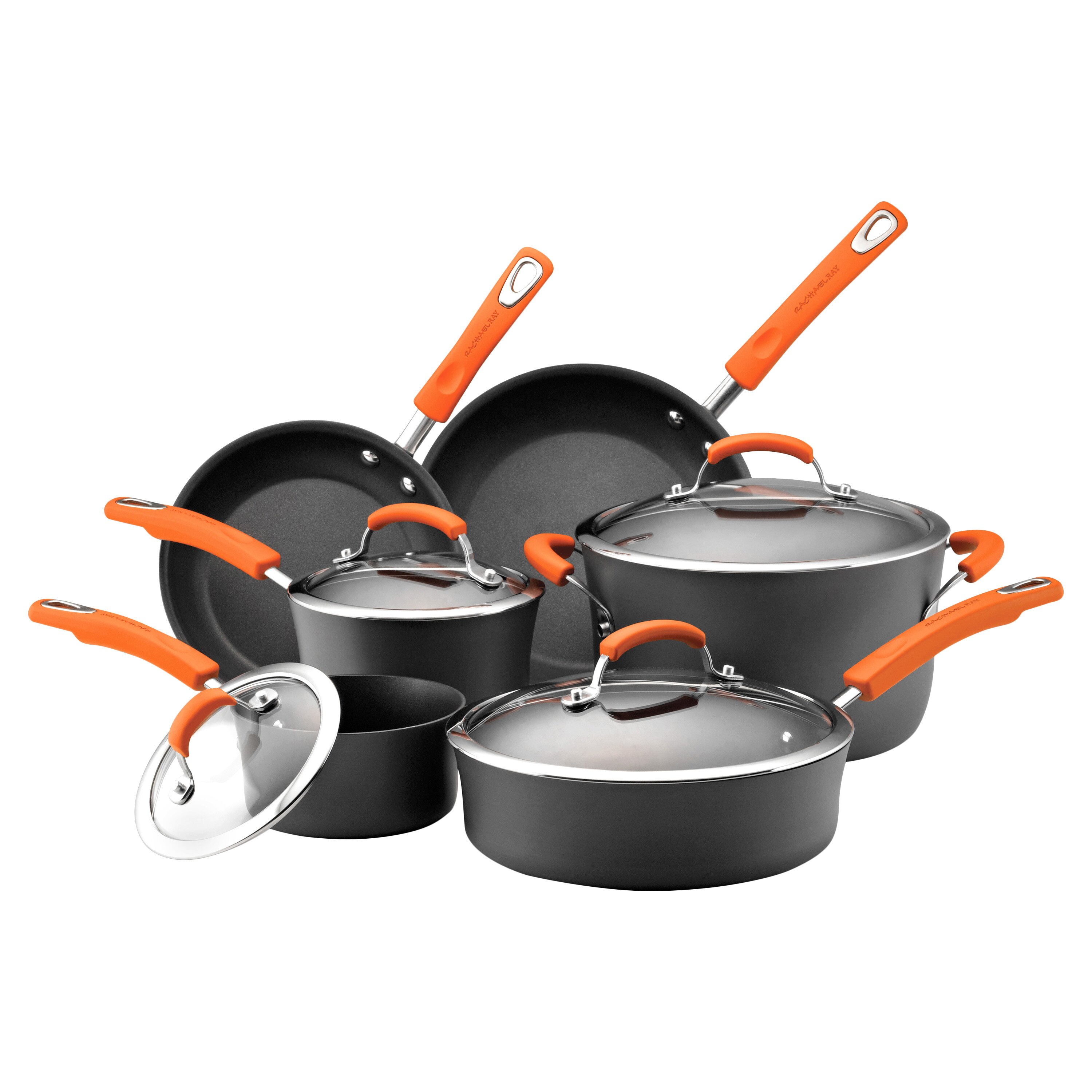 rachael ray hard anodized non stick 10 piece cookware set. Black Bedroom Furniture Sets. Home Design Ideas