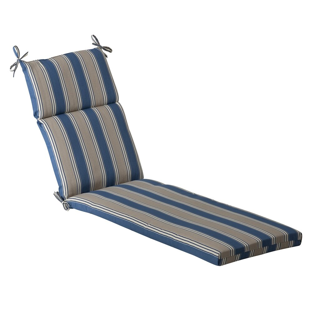 Pillow perfect stripe outdoor chaise lounge cushion for Chaise lounge cushion outdoor