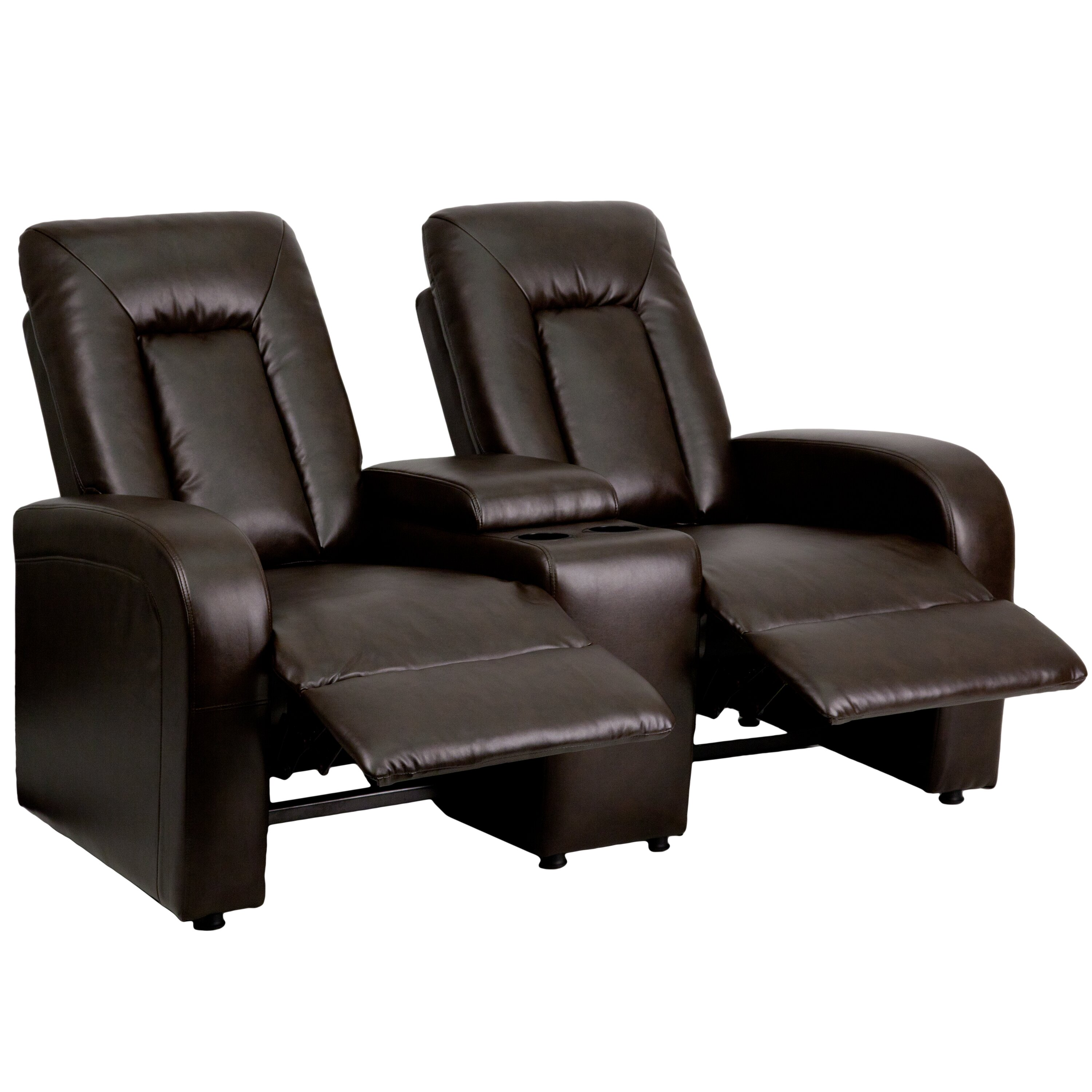 Flash Furniture Leather 2 Seat Home Theater Recliner With