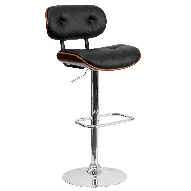 Flash Furniture Walnut Bentwood Adjustable Height Swivel Bar Stool Reviews Wayfair