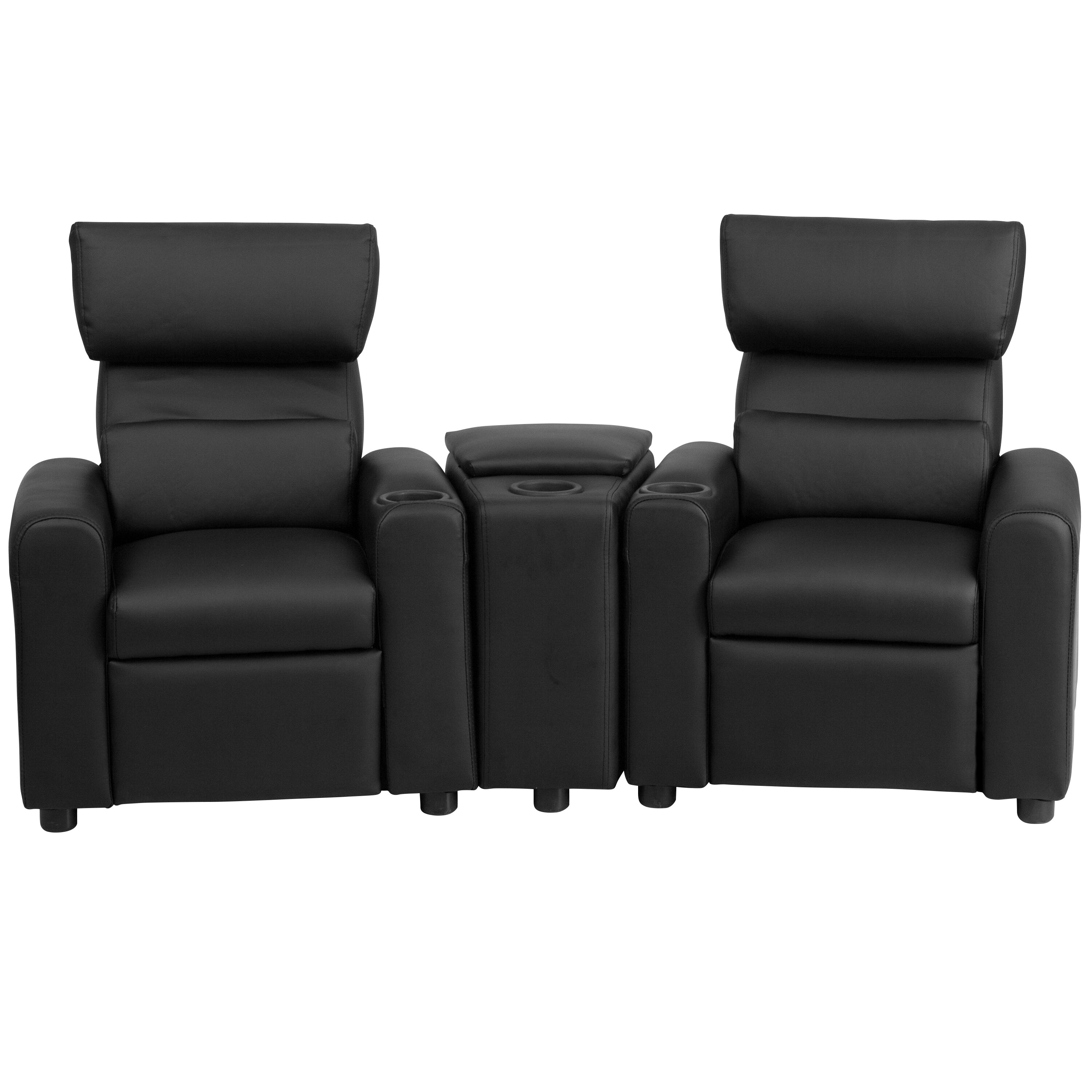 Flash furniture kids leather recliner with storage compartment and cup