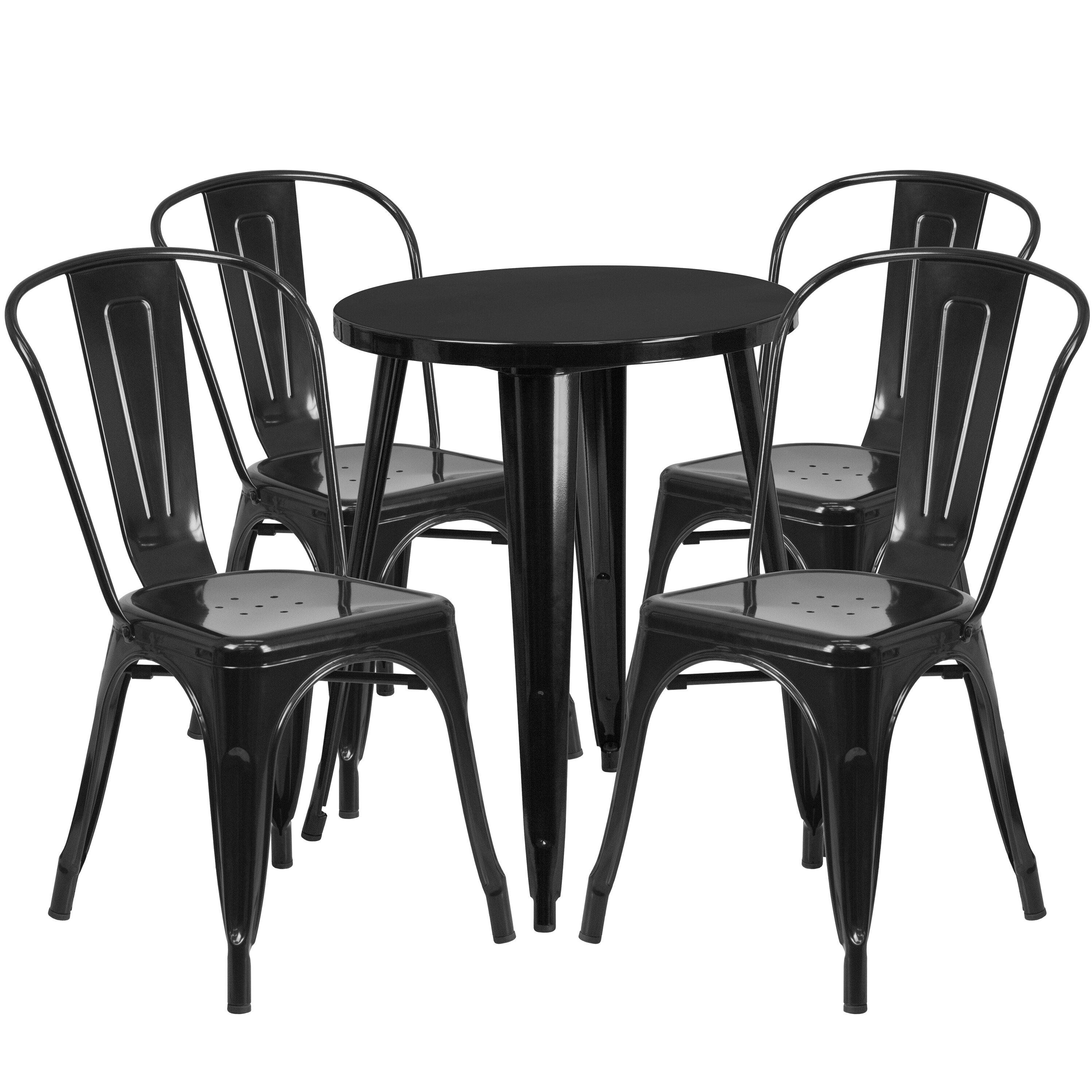 Flash Furniture Metal Indoor Outdoor 5 Piece Dining Set