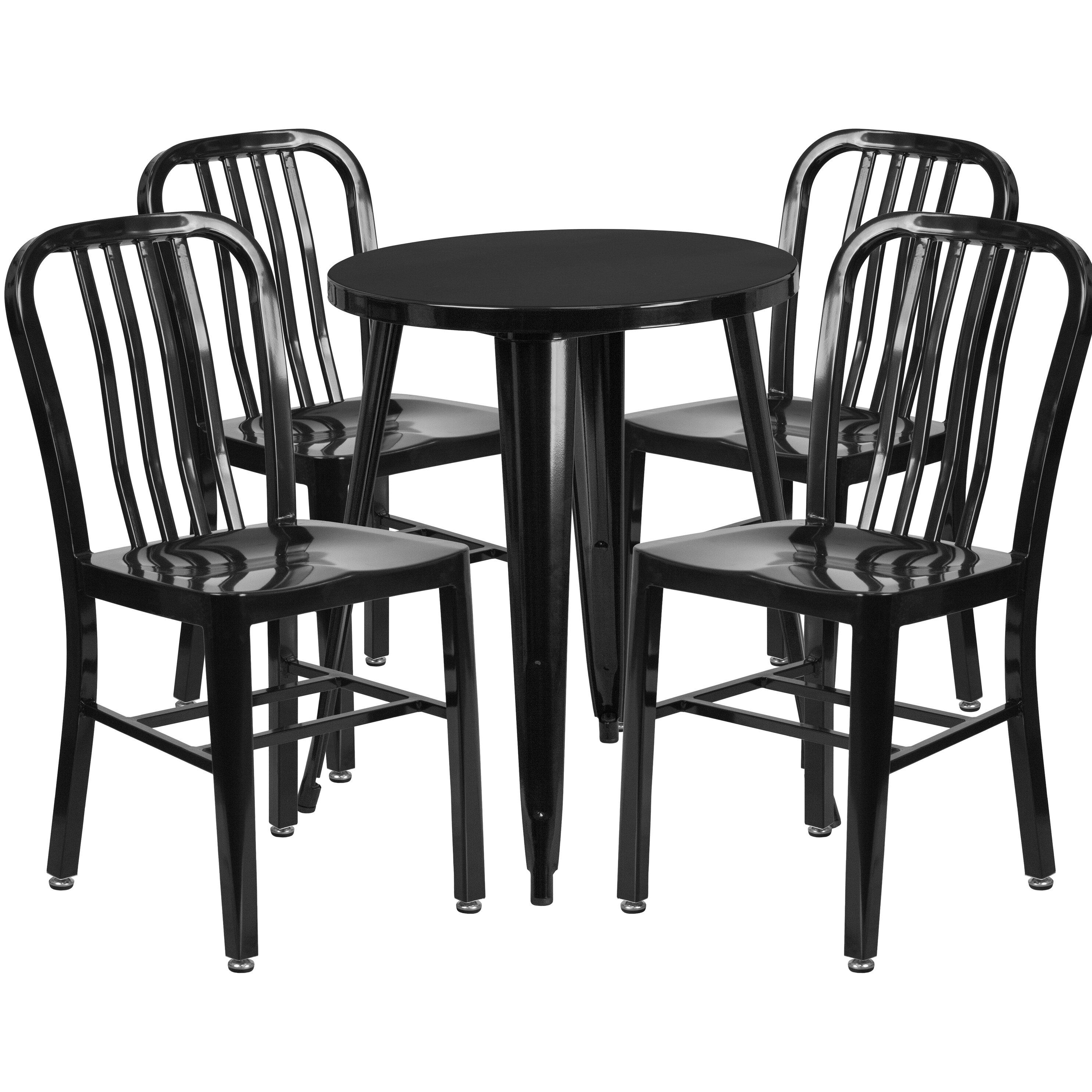 Flash furniture metal indoor outdoor 5 piece dining set for Indoor outdoor furniture