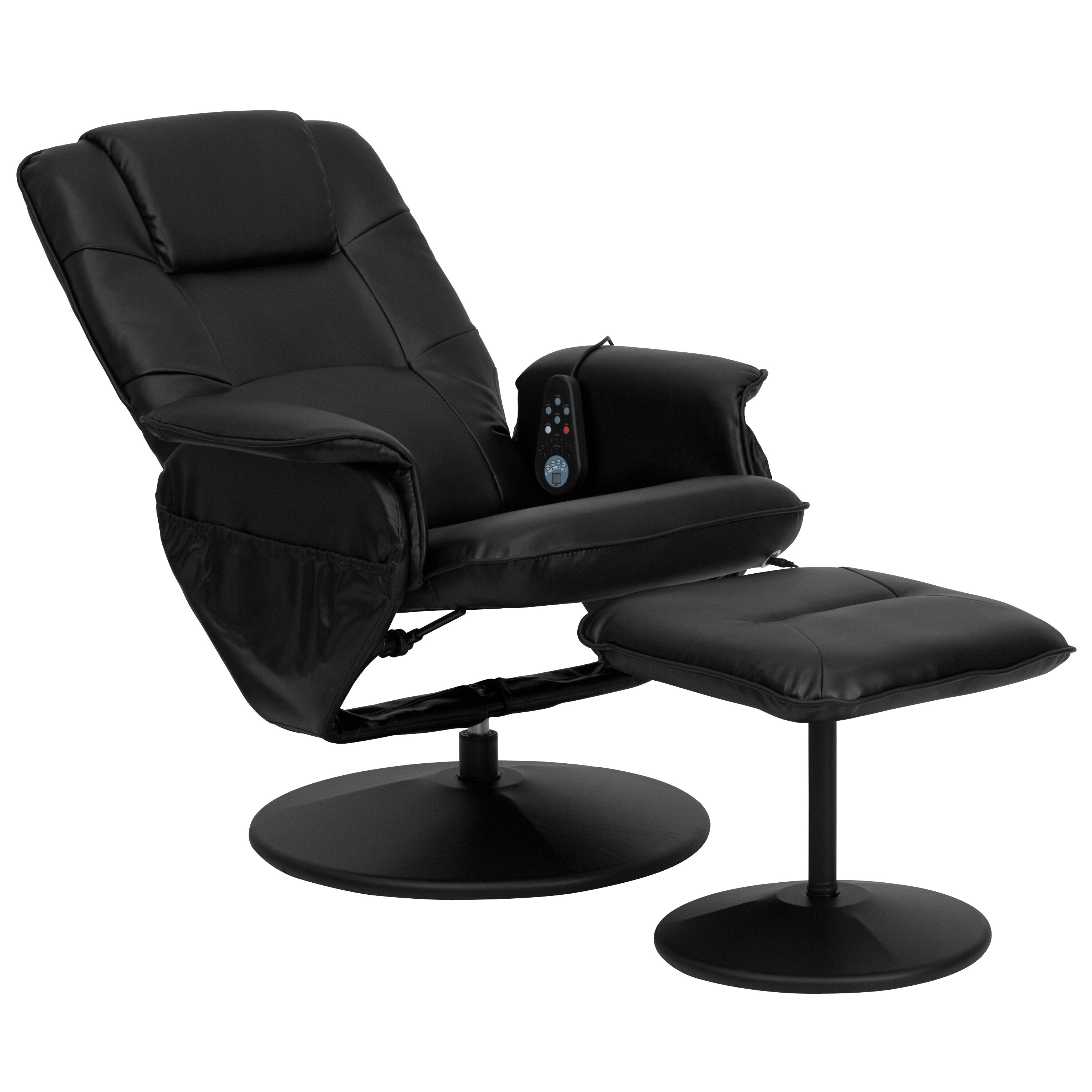 Flash Furniture Leather Heated Reclining Massage Chair Ottoman Re