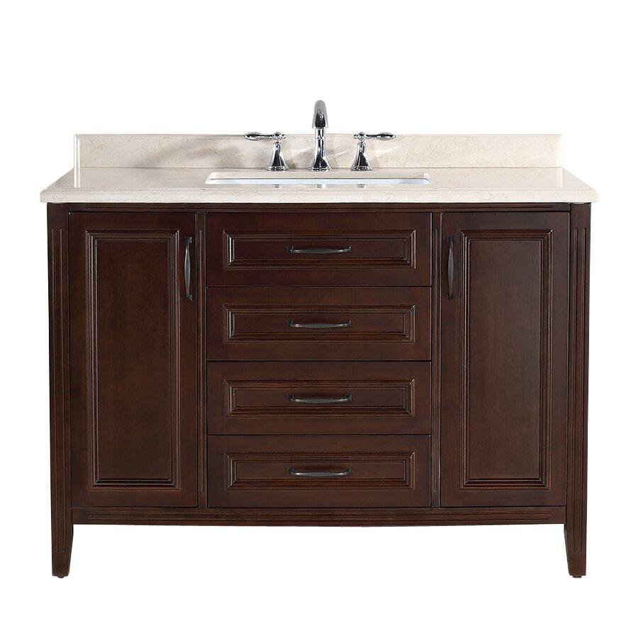 Innovative Avola 48 Inch Contemporary White Finish Bathroom Vanity Set