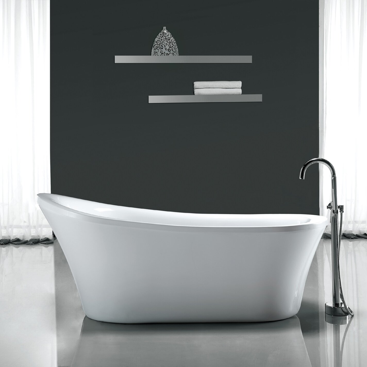 Ove decors rachel 70 x 34 freestanding acrylic slipper for What is the best bathtub
