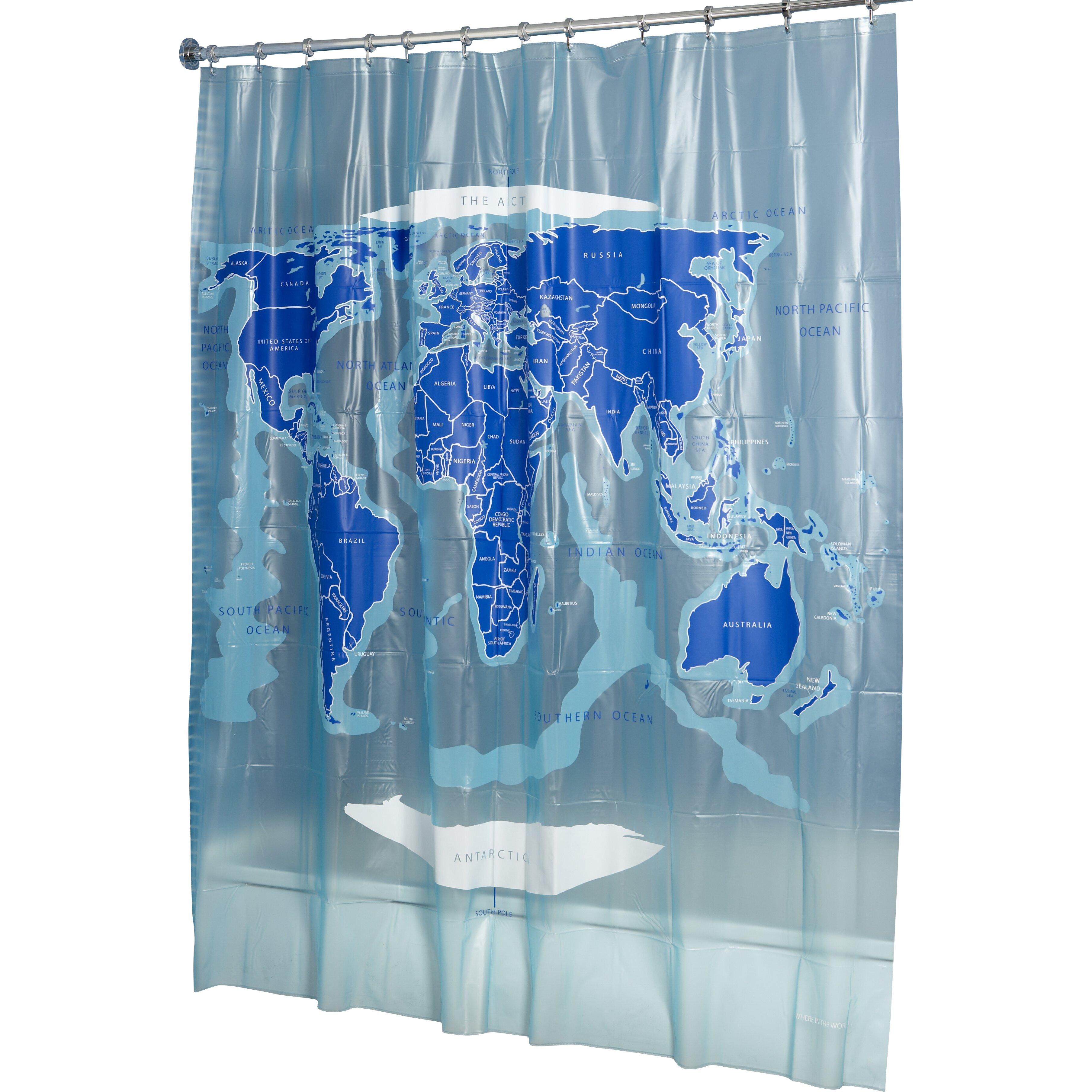 croydex world map vinyl shower curtain reviews wayfair. Black Bedroom Furniture Sets. Home Design Ideas