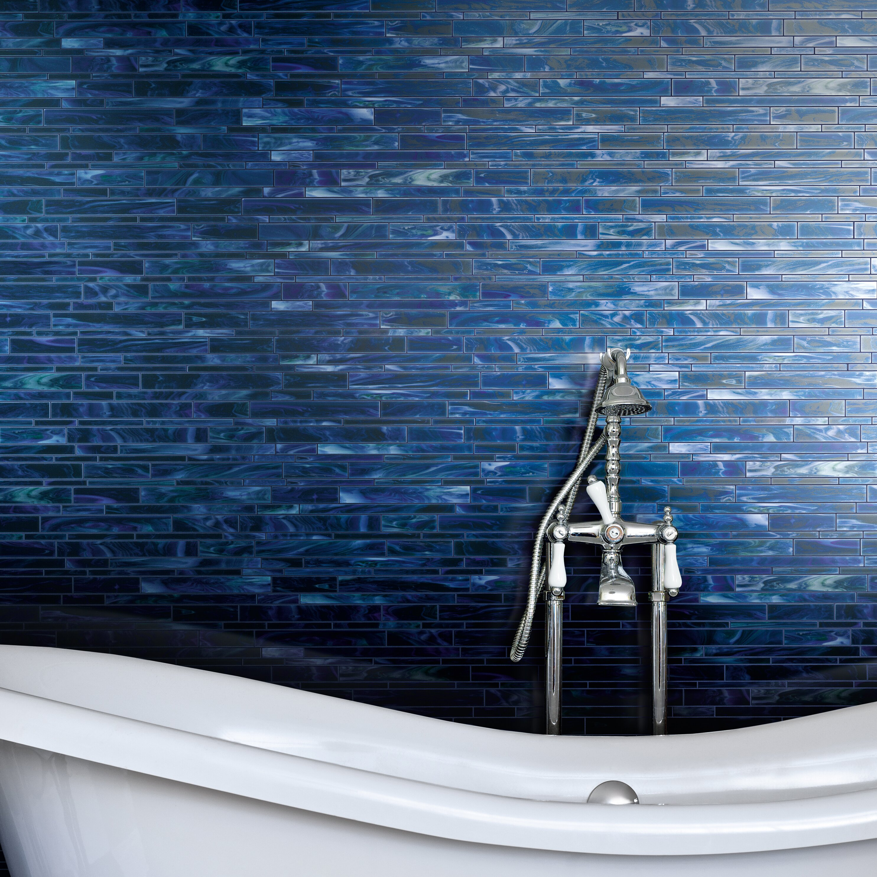 Marazzi catwalk random sized glass mosaic tile in blue for Catwalk flooring