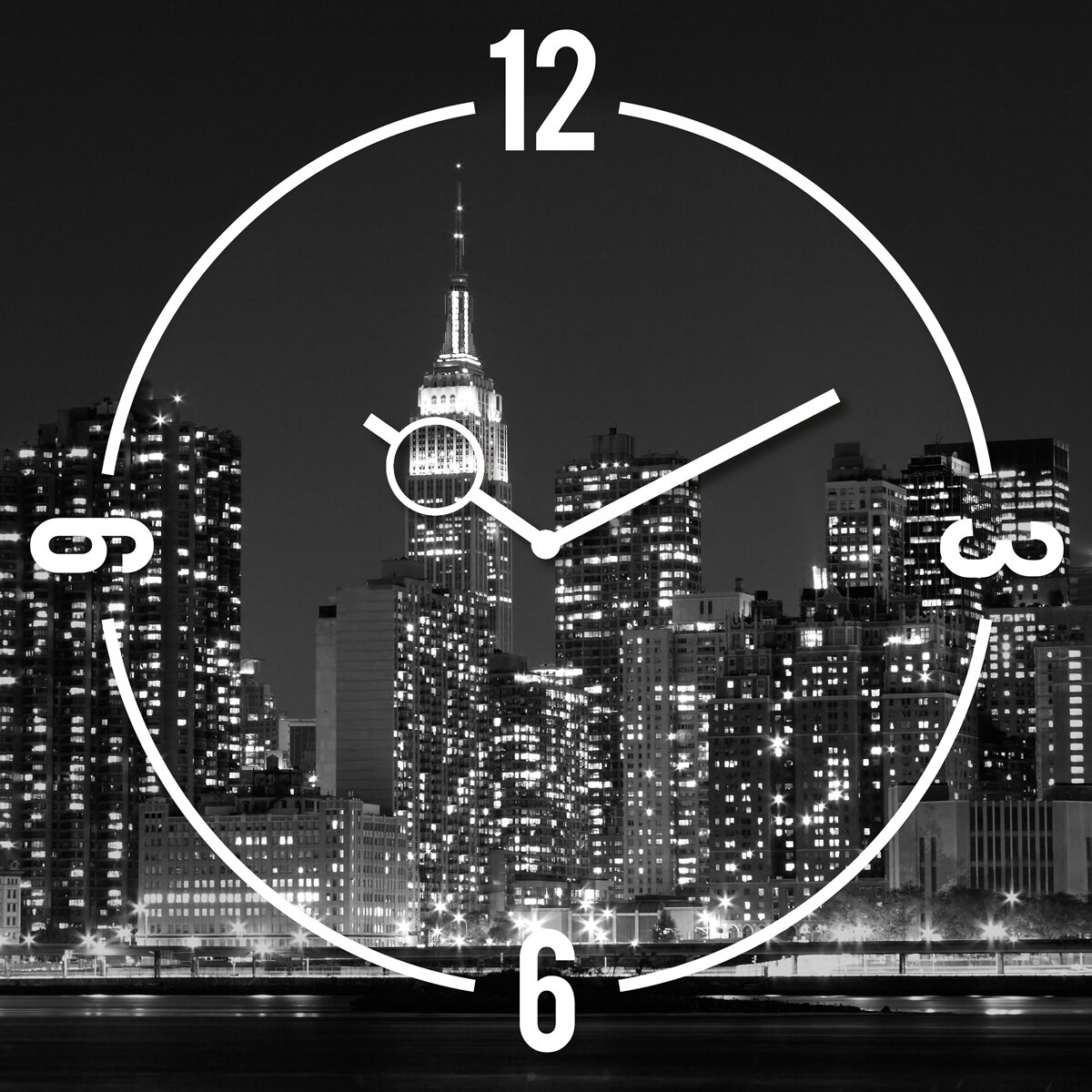 eurographics analoge wanduhr time art new york von manufacturer. Black Bedroom Furniture Sets. Home Design Ideas