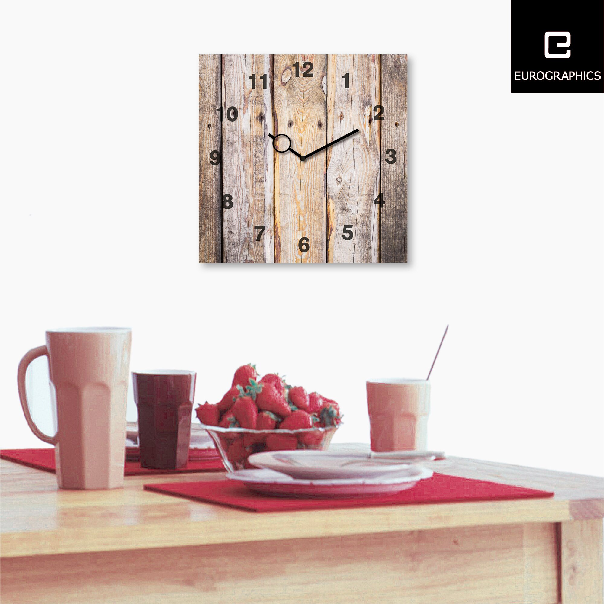 eurographics time art wooden wall clock reviews wayfair uk. Black Bedroom Furniture Sets. Home Design Ideas