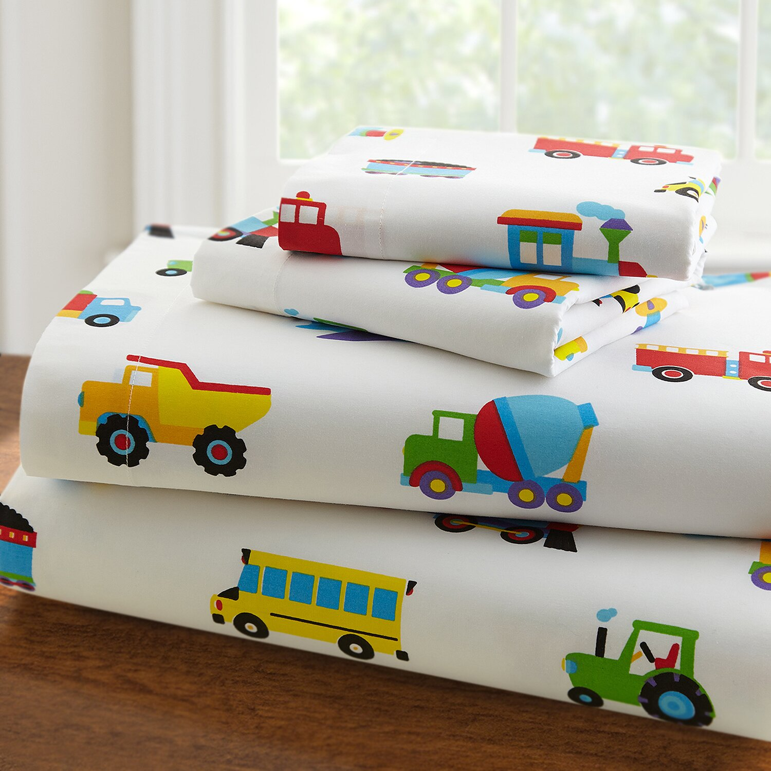 Wildkin Olive Kids 210 Thread Count Trains Planes And
