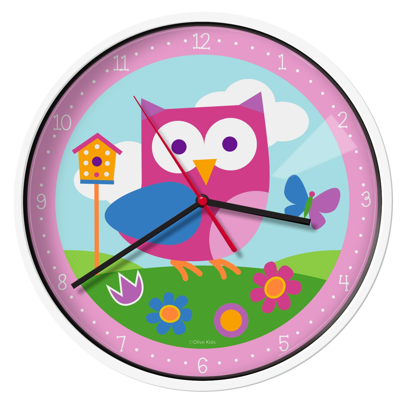 Wildkin olive kids birdie 12quot wall clock reviews wayfair for Wall clock images for kids