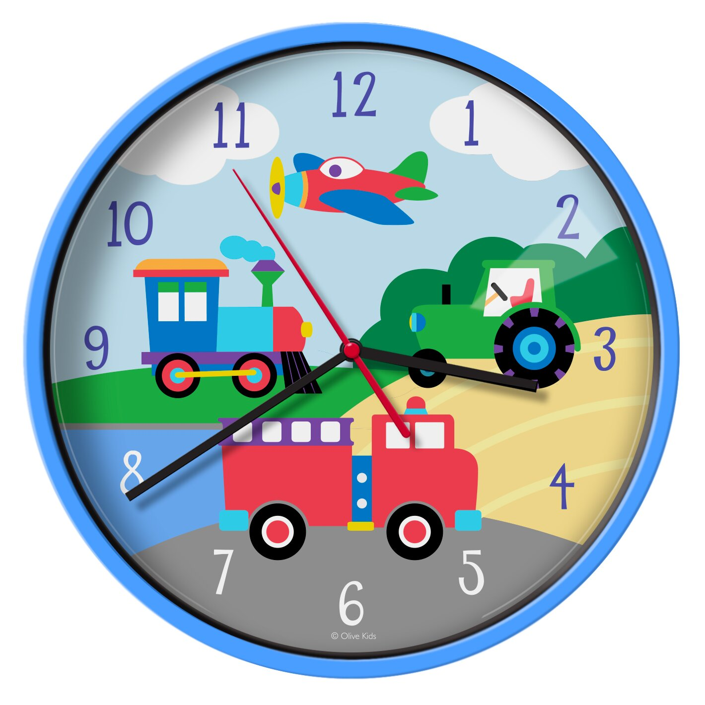 Wildkin olive kids trains planes trucks 12quot wall clock for Wall clock images for kids