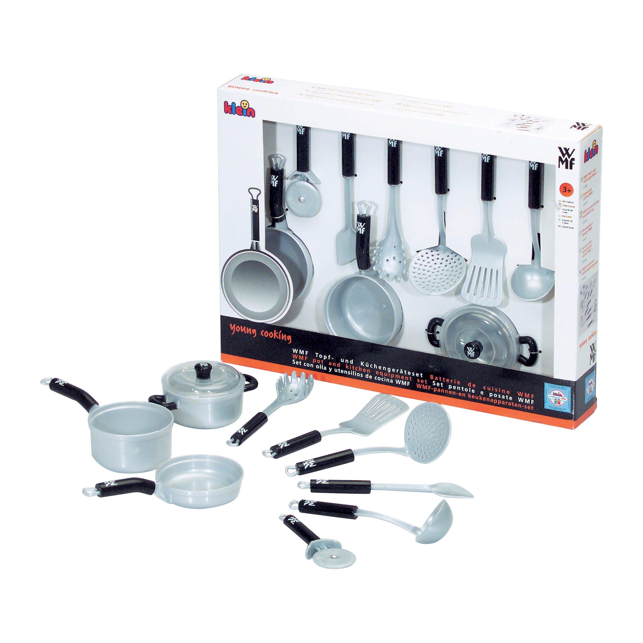 theo klein 9 piece wmf pots and kitchen equipment set