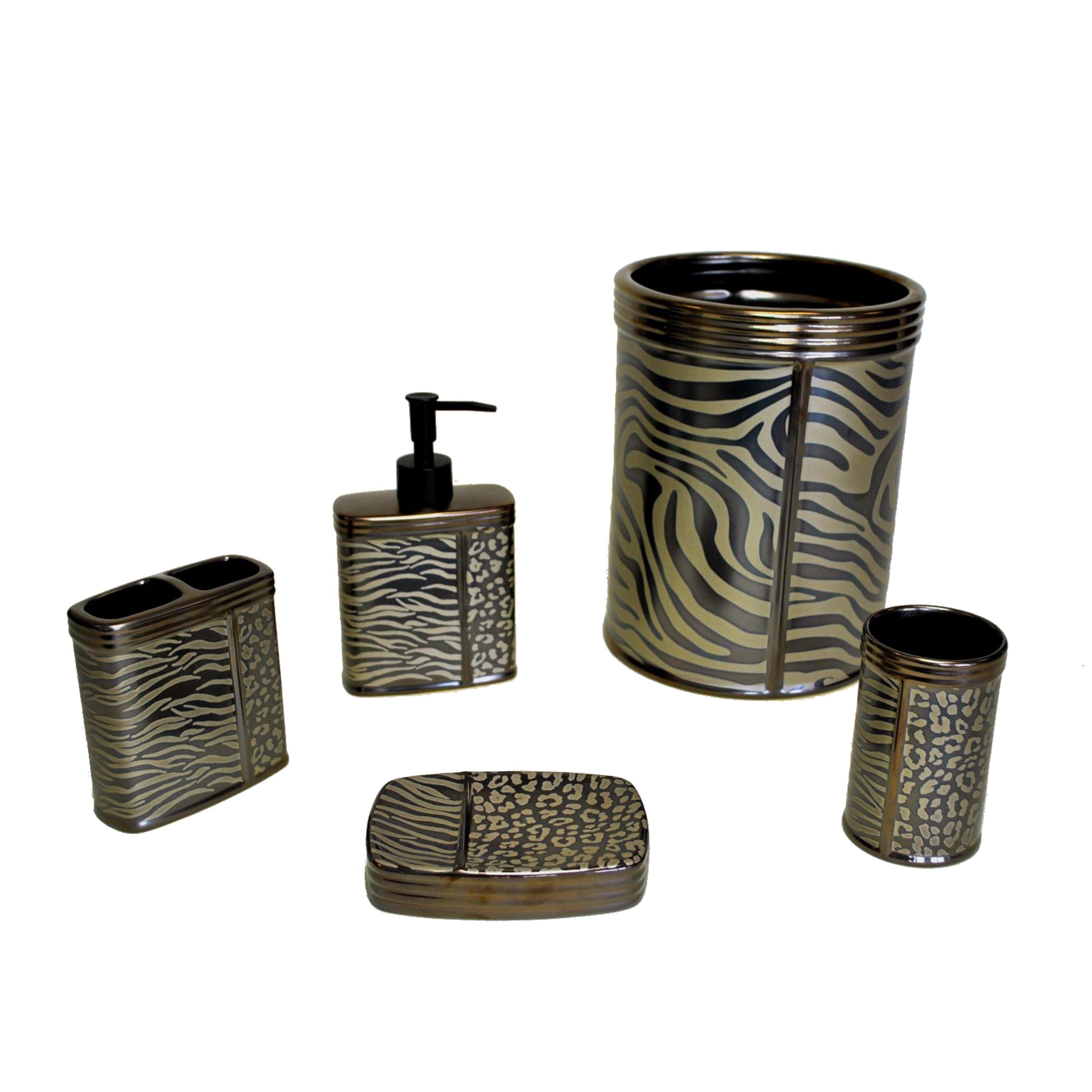 5 Bathroom Set Sherry Kline Zebra Print 5 Piece Bathroom Accessory Set