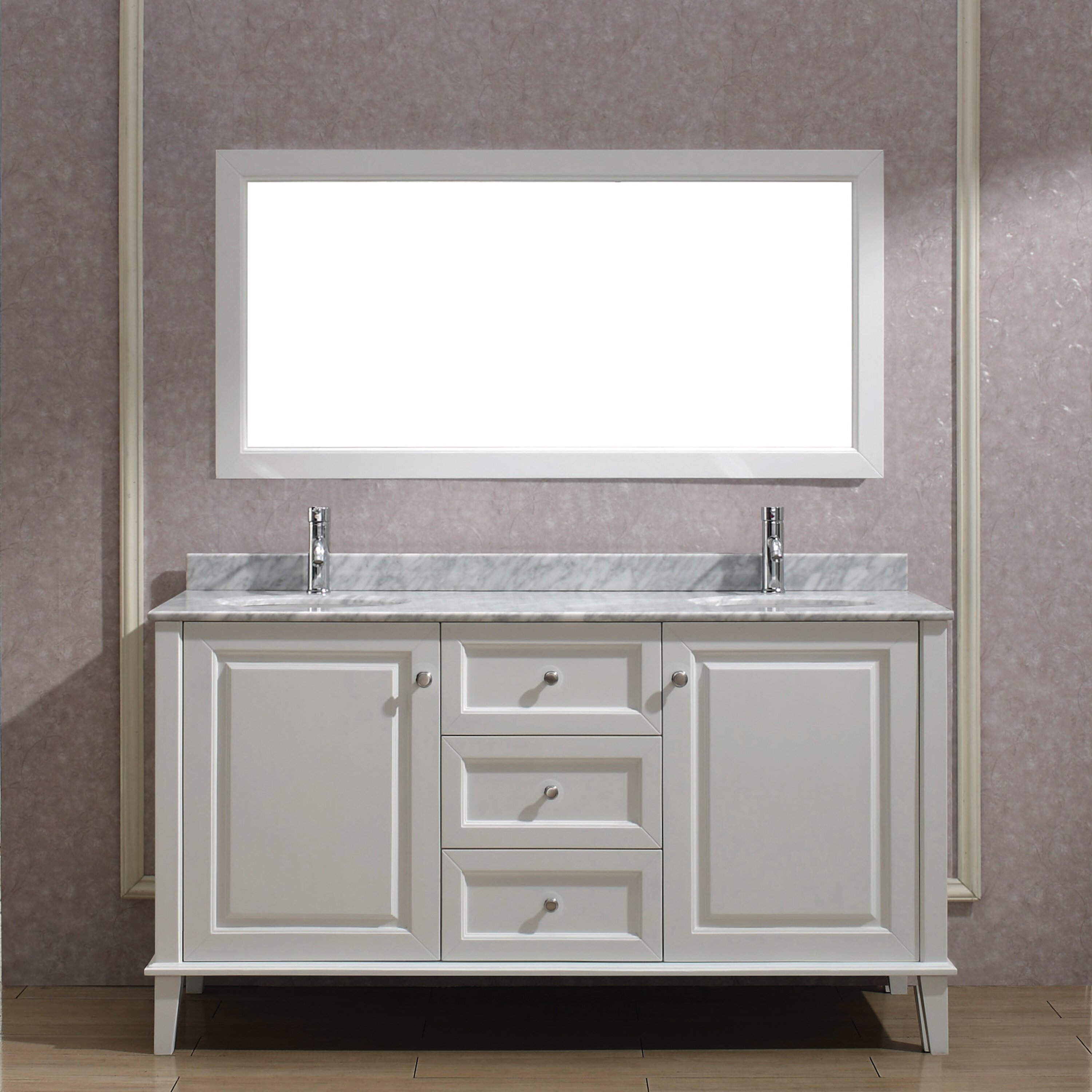 Bauhaus bath milly 63 double bathroom vanity set with for Bathroom mirror set