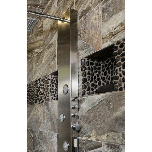 Emser tile rivera pebbles 12 x 12 mosaic in black for Mosaic bathroom bin