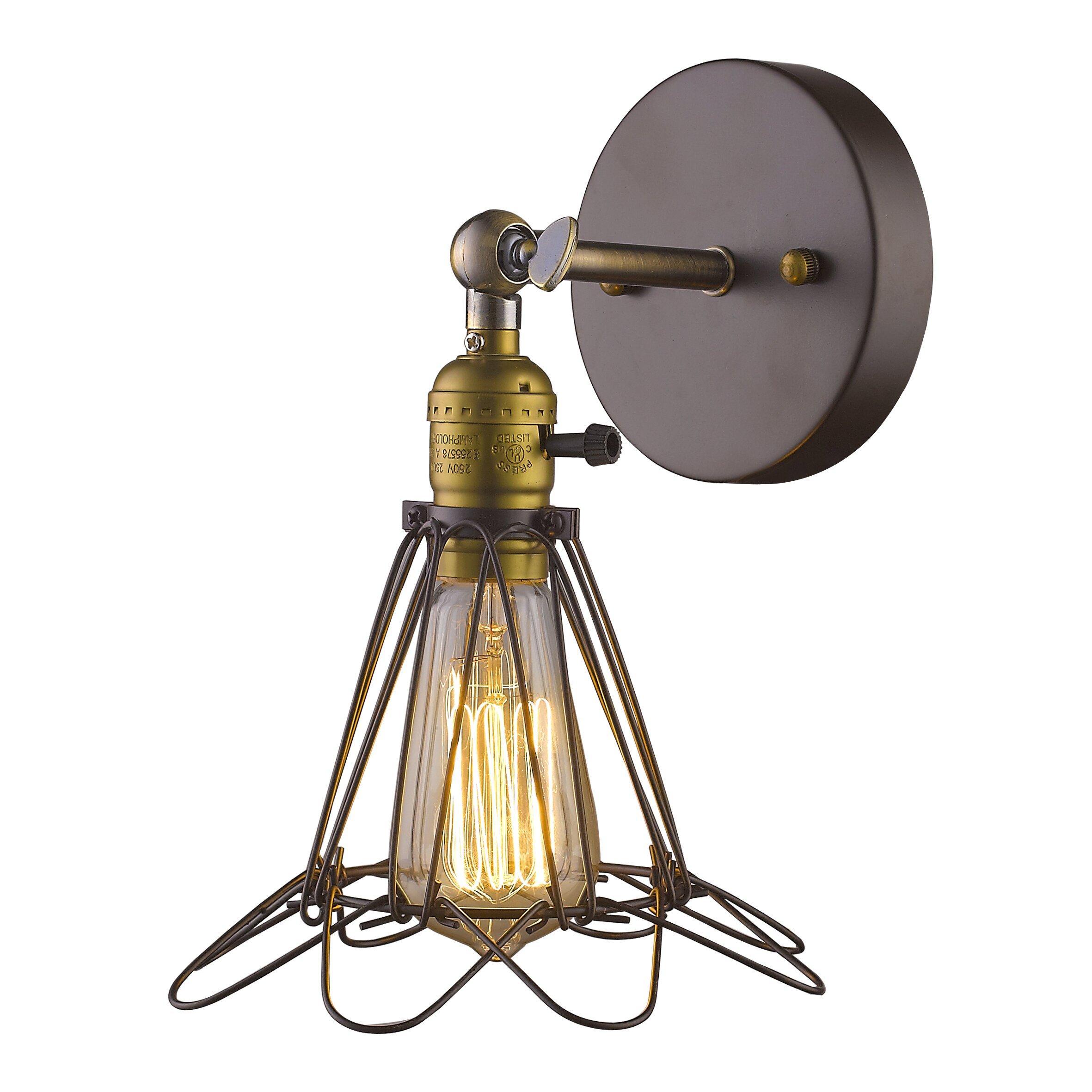 Metal Wall Sconces Lighting : Chloe Lighting Ironclad 1 Light Metal Wall Sconce & Reviews Wayfair