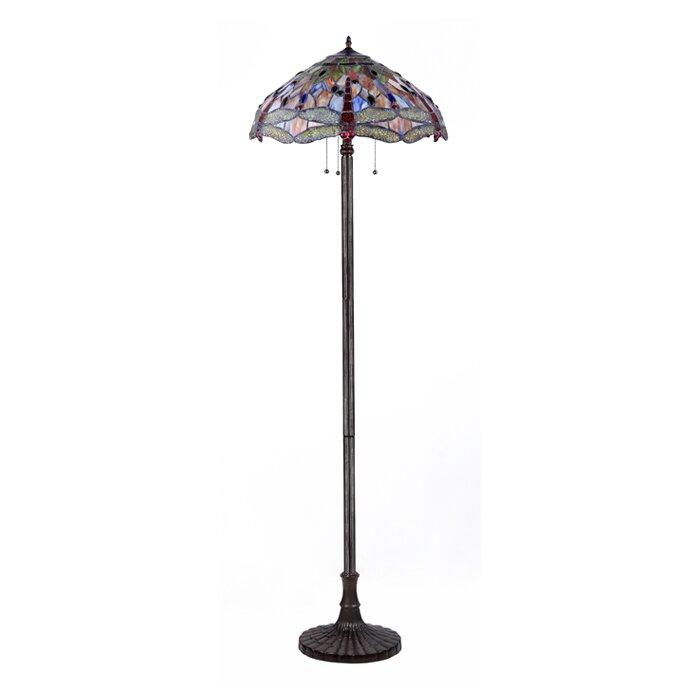 chloe lighting dragonfly 3 light 66 tiffany floor lamp reviews. Black Bedroom Furniture Sets. Home Design Ideas