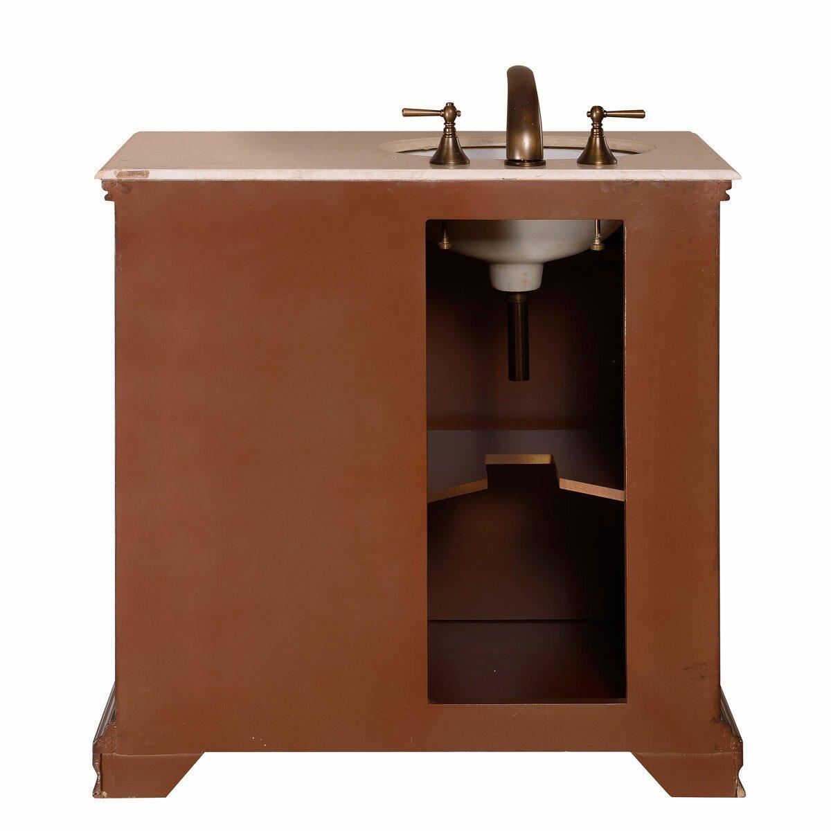 Silkroad Exclusive 36 Single Sink Cabinet Bathroom Vanity