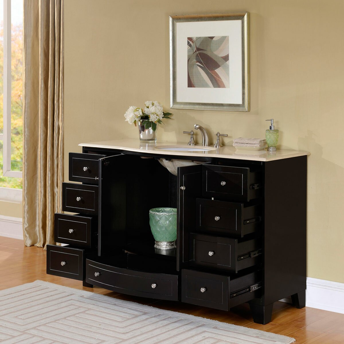 Silkroad Exclusive 55 Single Sink Cabinet Bathroom Vanity