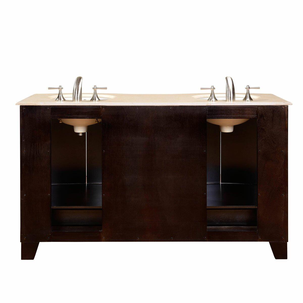 Silkroad Exclusive 60 Double Sink Cabinet Bathroom Vanity Set Reviews Wayfair