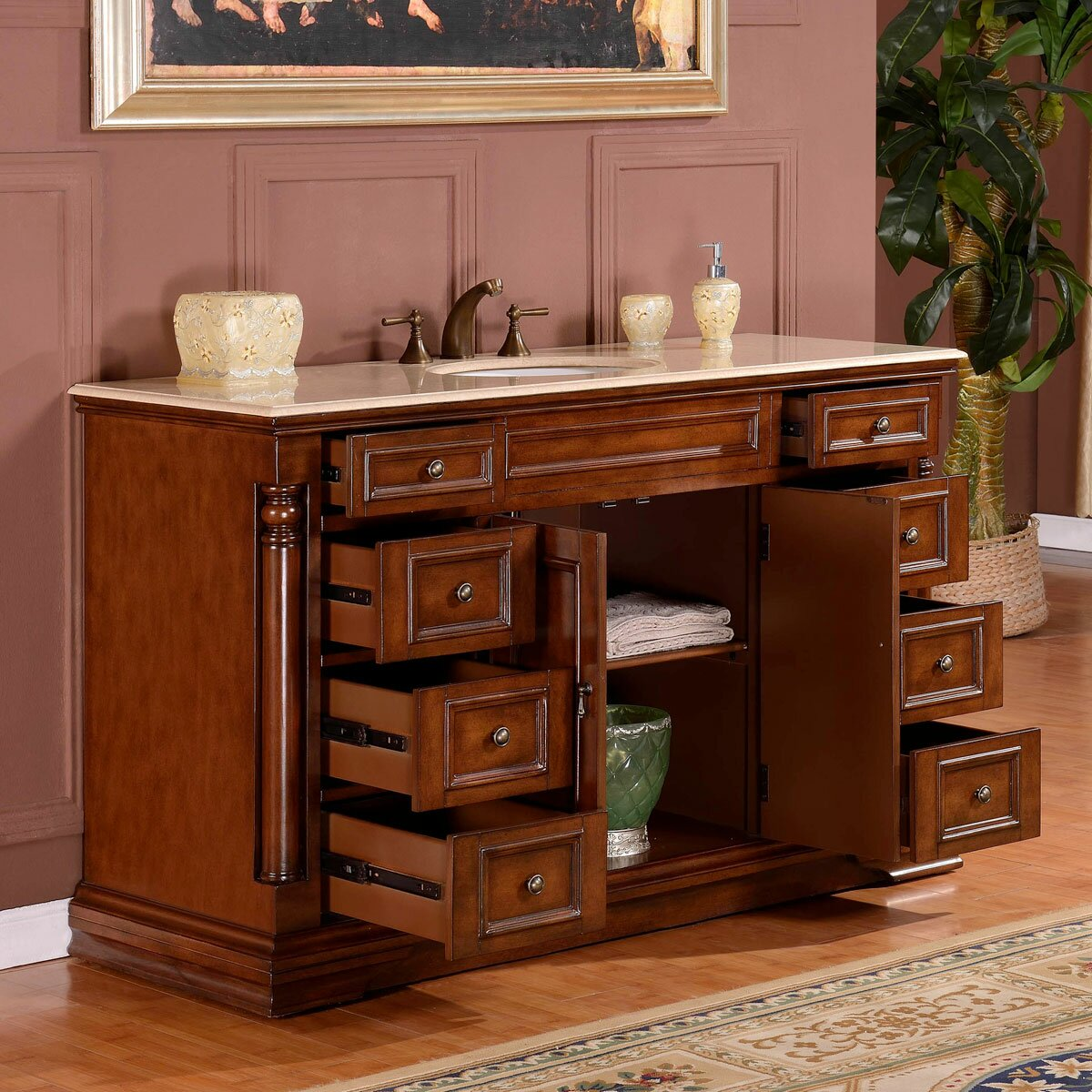 Silkroad exclusive 58 single sink cabinet bathroom vanity - Wayfair furniture bathroom vanities ...