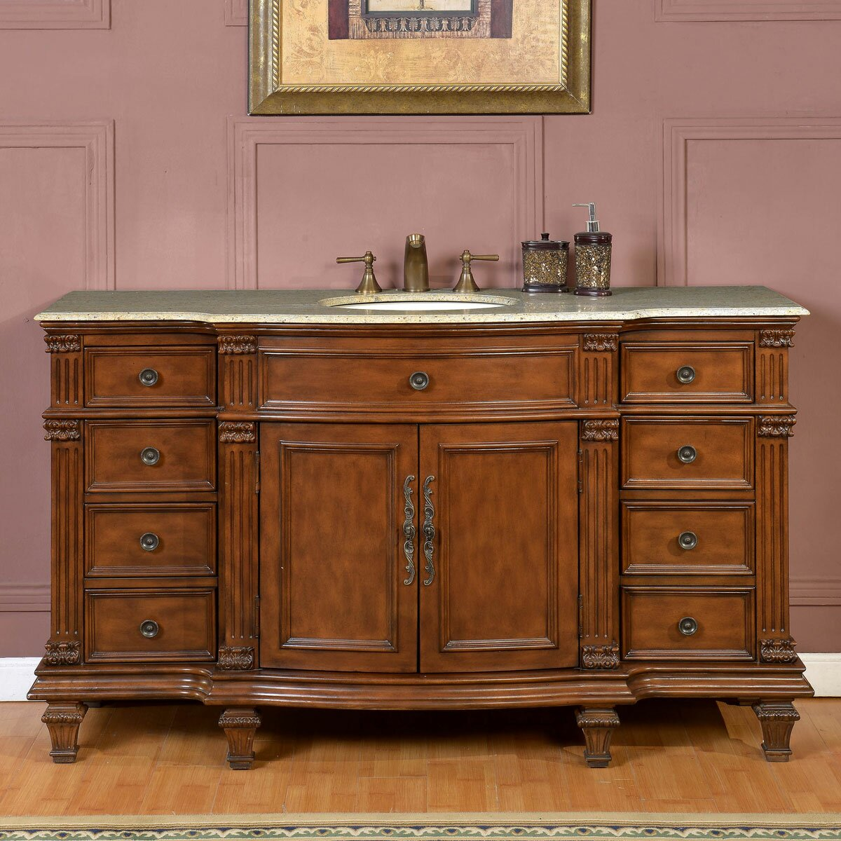 Silkroad Exclusive 60 Single Sink Cabinet Bathroom Vanity