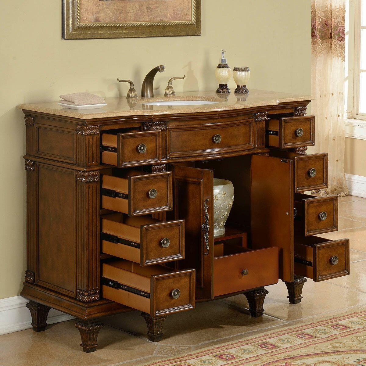 Silkroad Exclusive 48 Single Sink Cabinet Bathroom Vanity