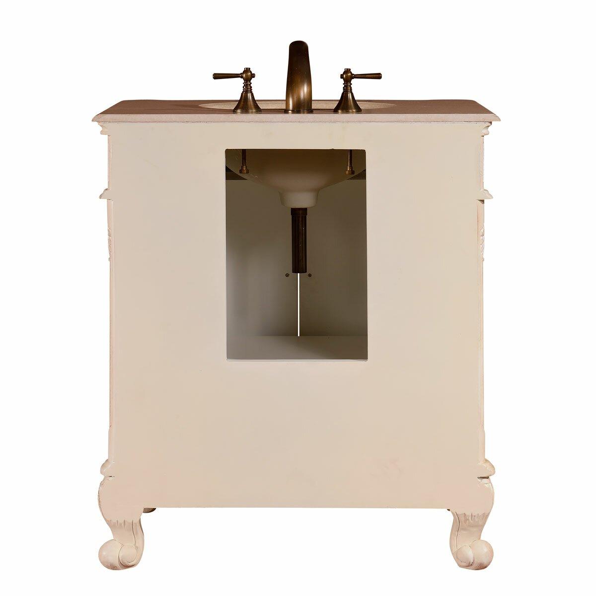 Silkroad Exclusive 32 Single Sink Cabinet Bathroom Vanity