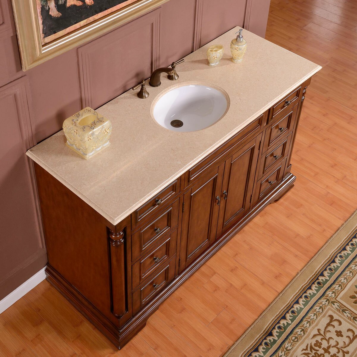 Silkroad exclusive 58 single sink cabinet bathroom vanity set reviews wayfair Bathroom sink and vanity sets