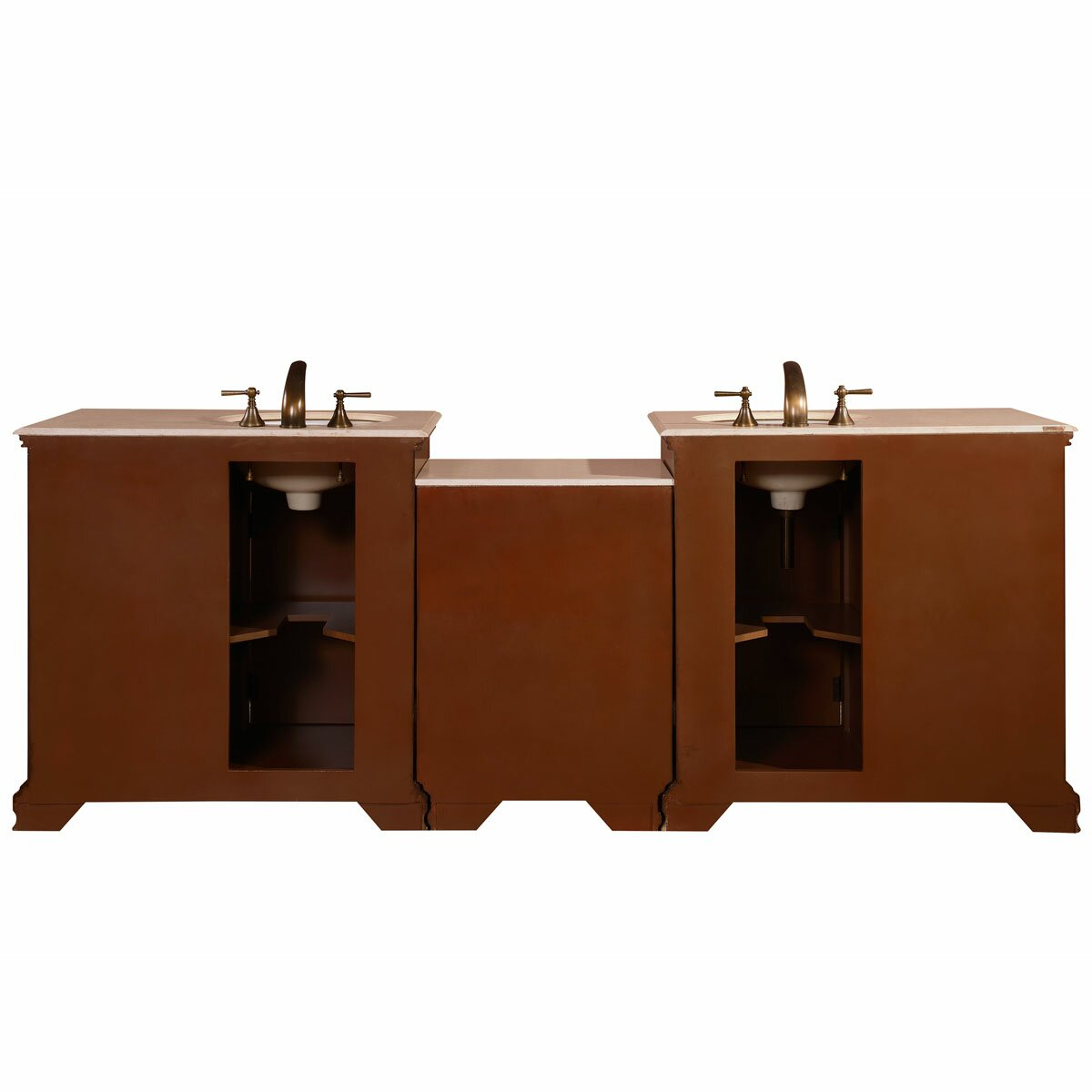 Silkroad exclusive 92 5 double lavatory sink cabinet bathroom vanity set reviews wayfair - Double sink bathroom vanity with hutch ...