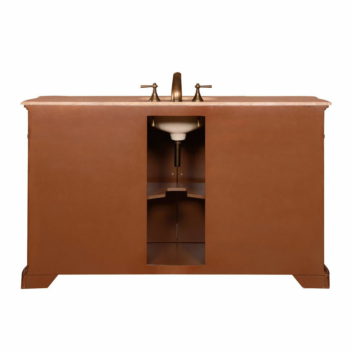 Silkroad exclusive 60 sink cabinet bathroom vanity set for Restroom vanity