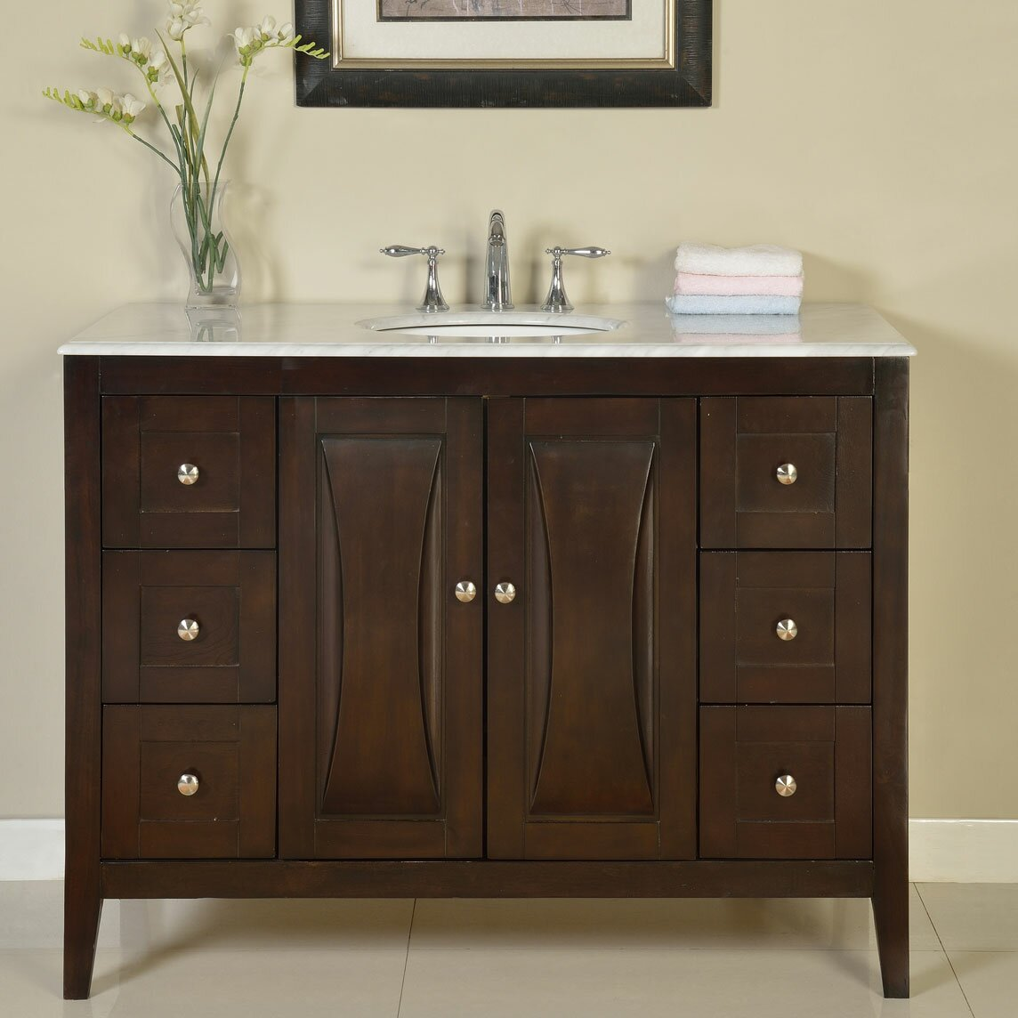 Silkroad exclusive 48 single sink cabinet bathroom vanity for Single bathroom vanity