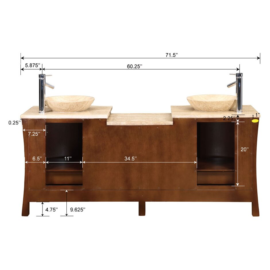 Silkroad Exclusive Northampton 72 Double Bathroom Vanity Set Reviews Wayfair
