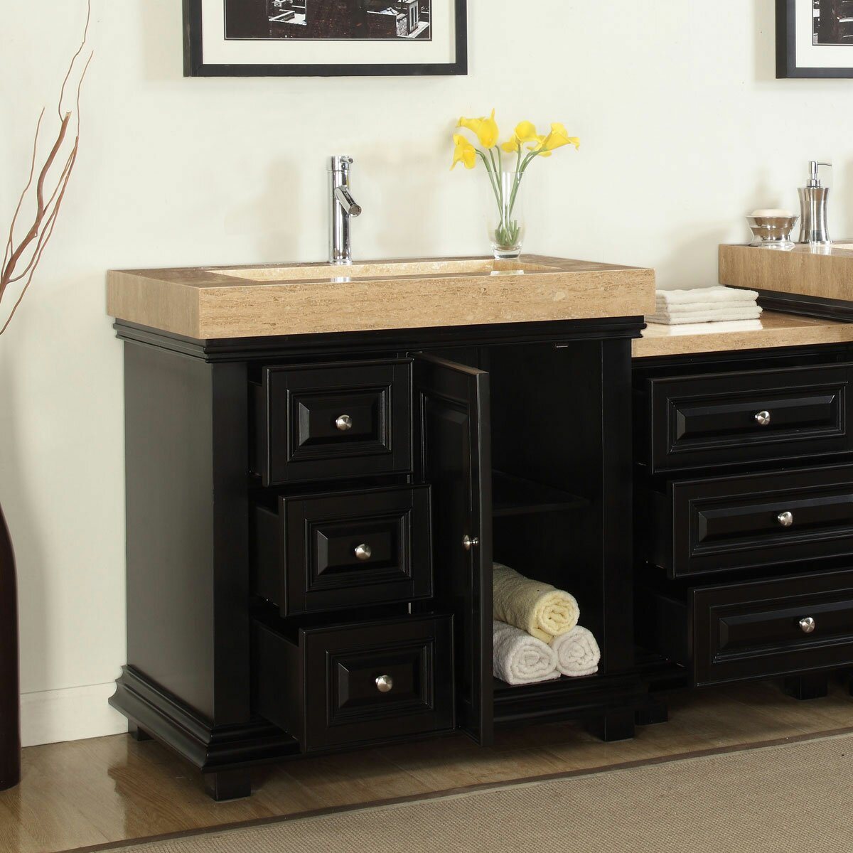 Silkroad Exclusive 55 5 Single Integrated Bathroom Vanity Set With Drain On Right Reviews