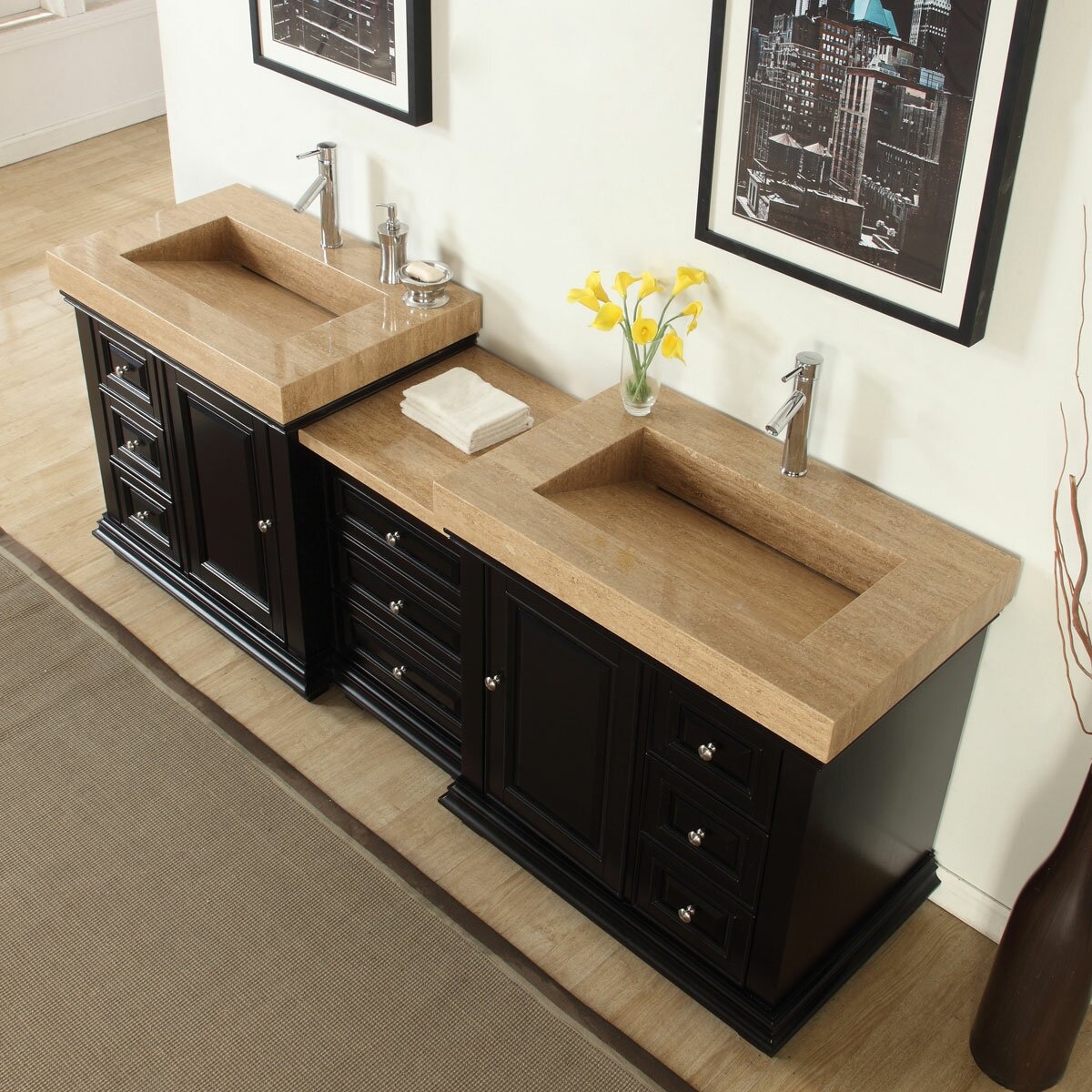 Silkroad Exclusive 90 Double Sink Modern Bathroom Vanity