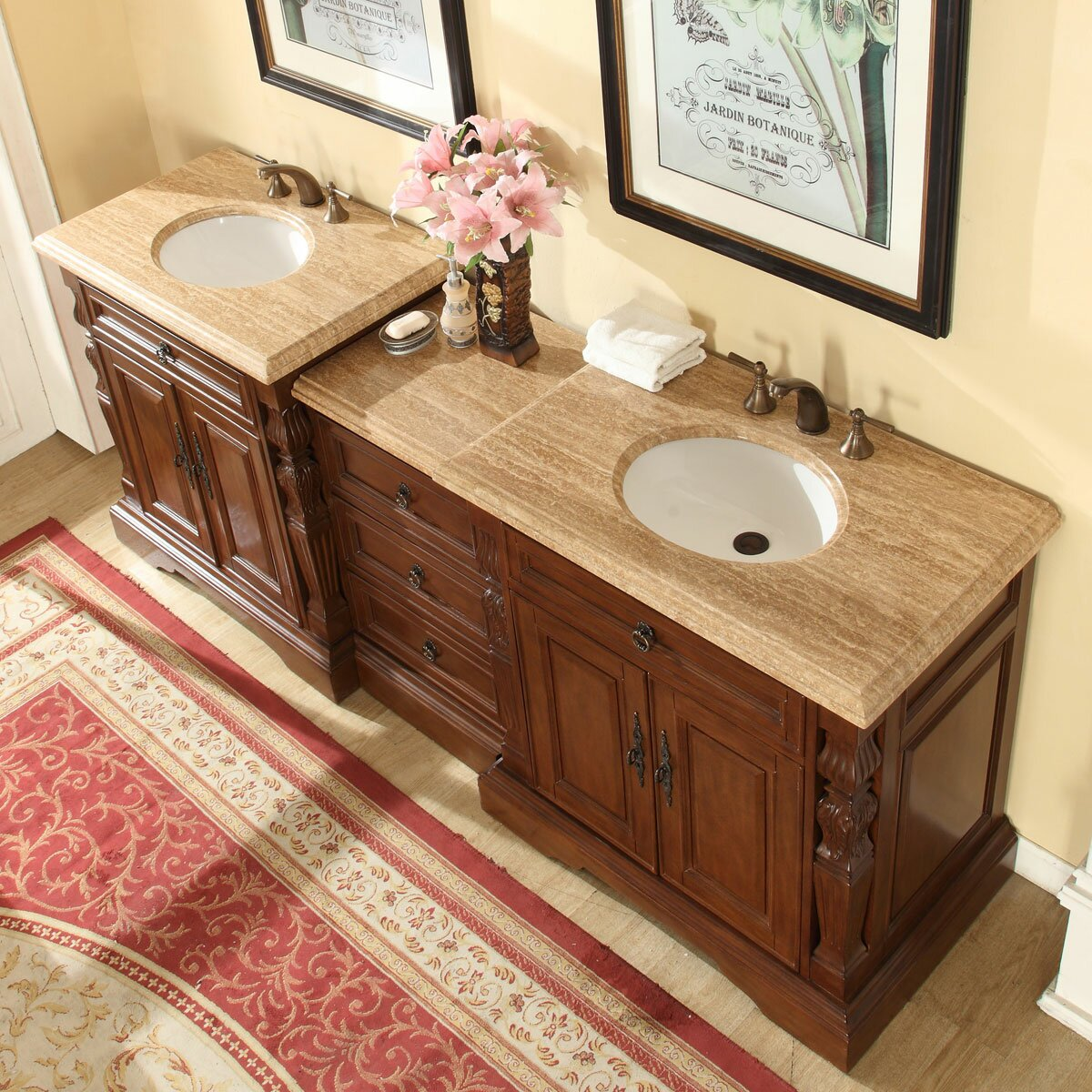 Silkroad exclusive 90 double sink bathroom modular vanity for Double basin bathroom sinks