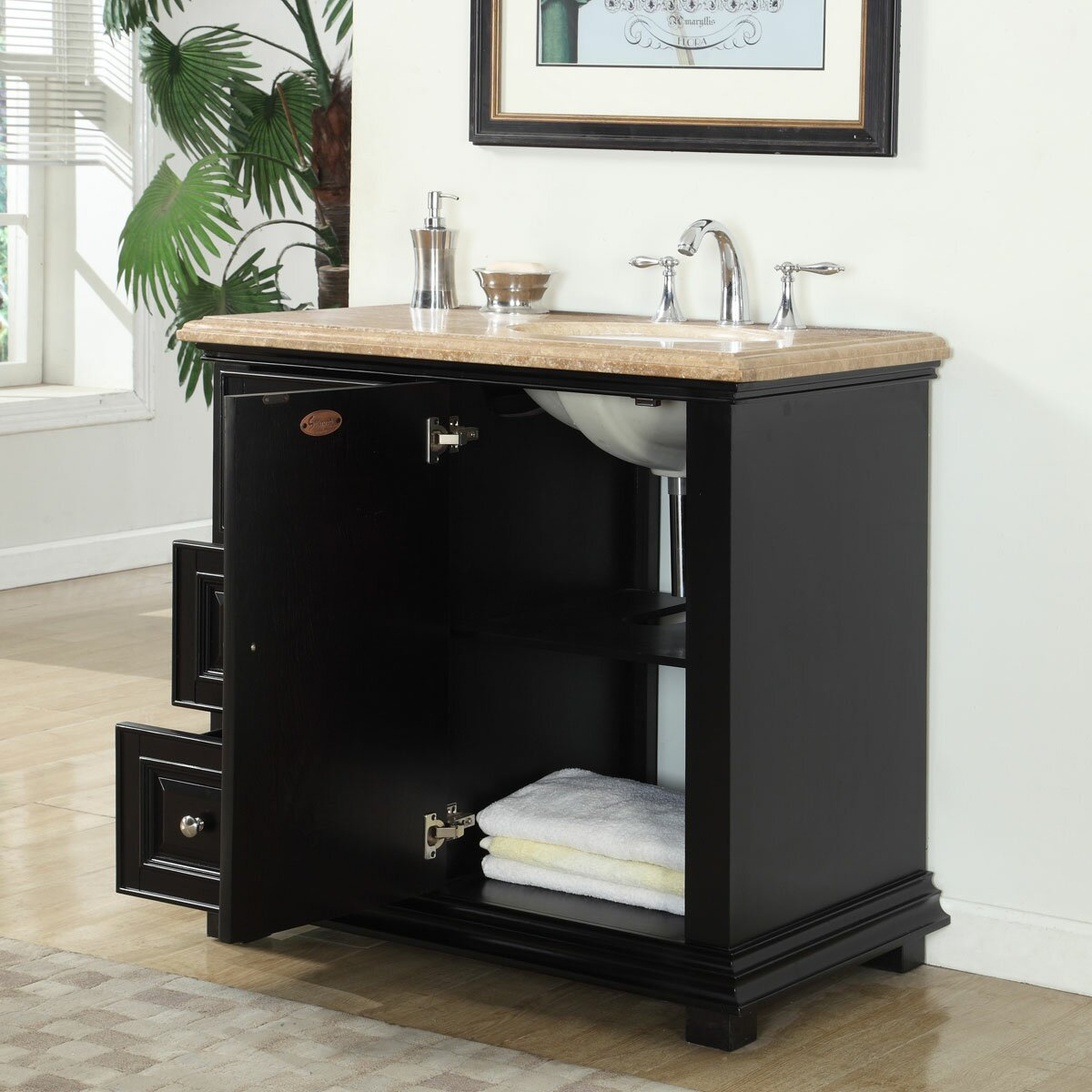 Silkroad exclusive 36 single bathroom vanity set with sink on right side reviews wayfair Bathroom sink and vanity sets