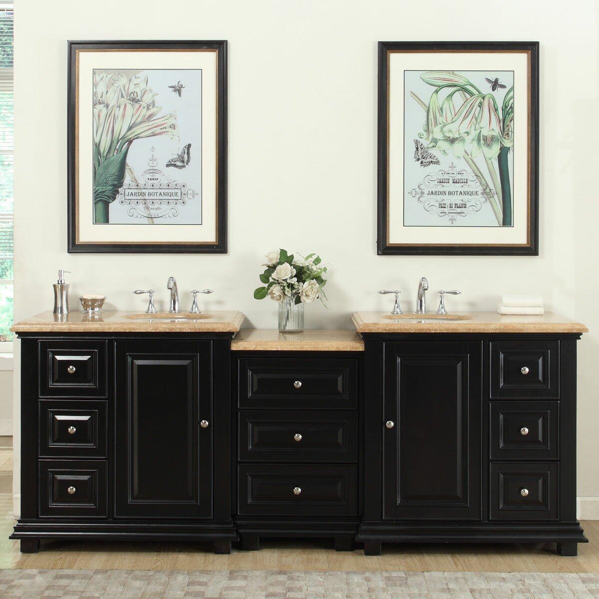 Silkroad exclusive 90 5 double sink bathroom modular for Modular bathroom