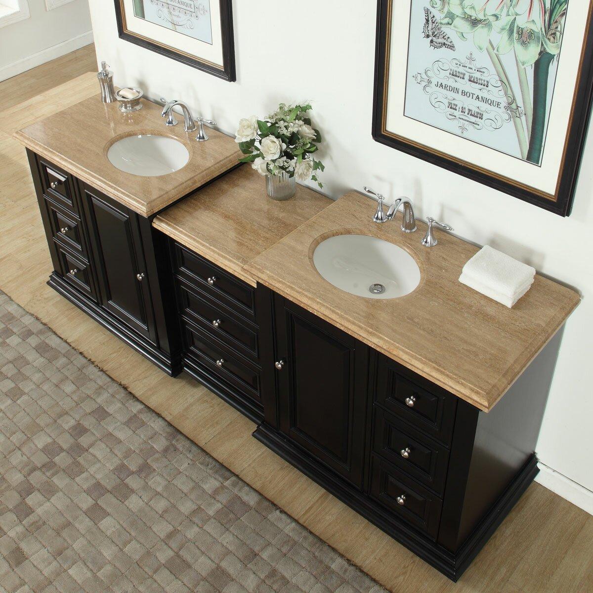 Silkroad exclusive 90 5 double sink bathroom modular for Prefab vanity