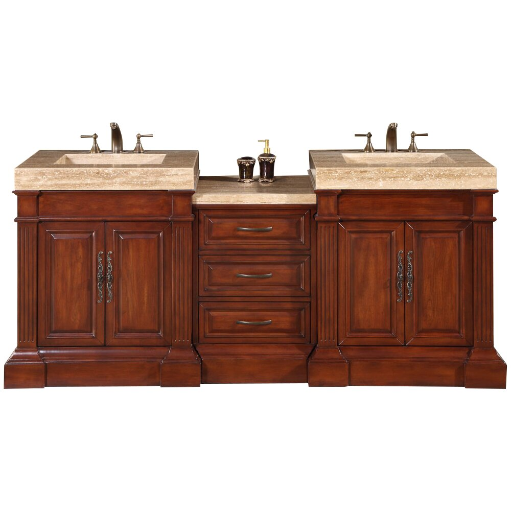 Silkroad exclusive stanton 83 double bathroom vanity set for Restroom vanity