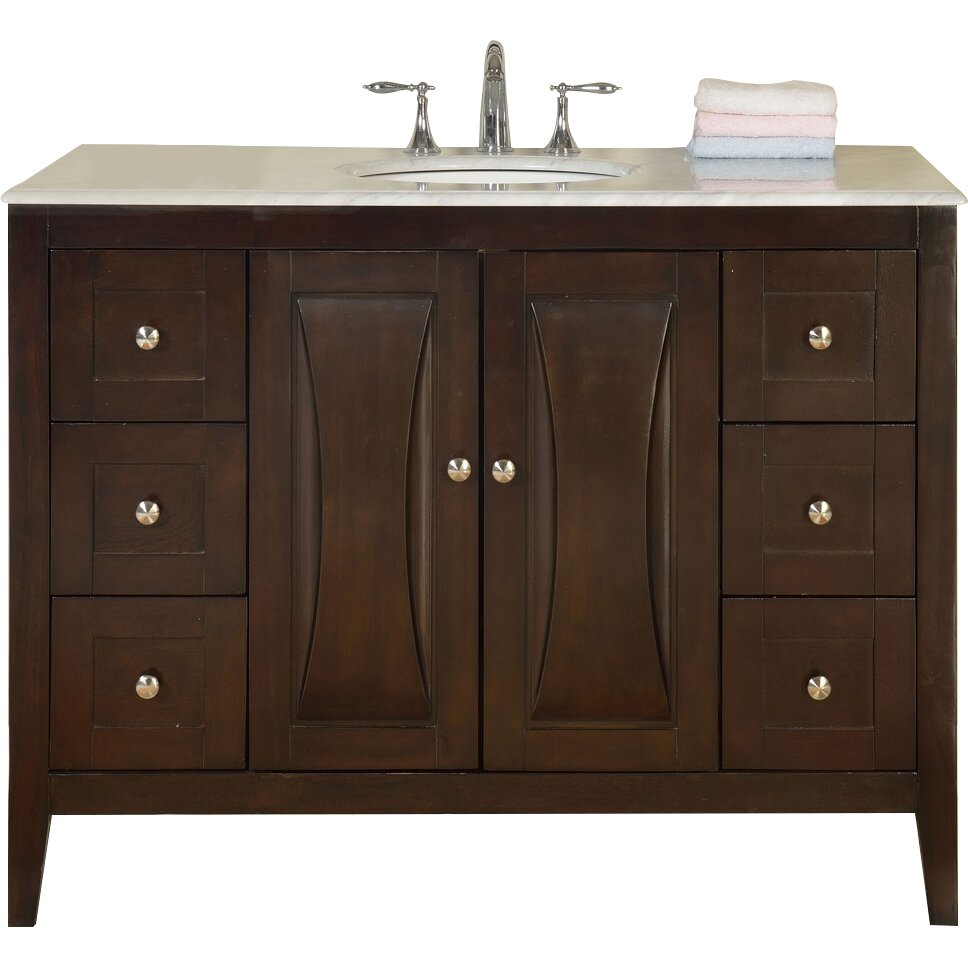 Silkroad exclusive 48 single sink cabinet bathroom vanity for Bathroom chest