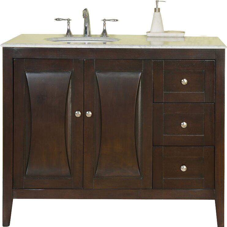 """Silkroad Exclusive 45"""" Single Sink Cabinet Bathroom Vanity ..."""
