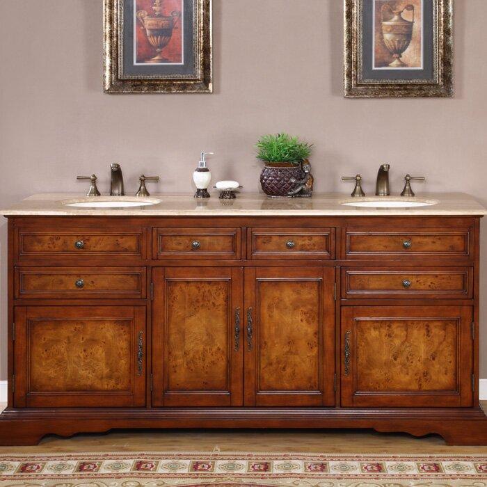 Silkroad exclusive york 72 double bathroom vanity set for Bathroom cabinets york
