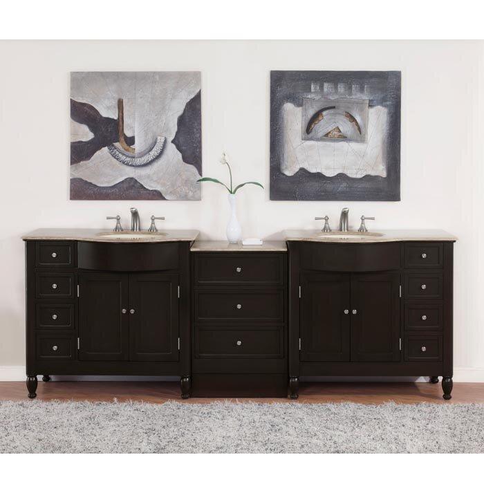Silkroad exclusive hamilton 95 double bathroom vanity set reviews wayfair for Bathroom vanities hamilton